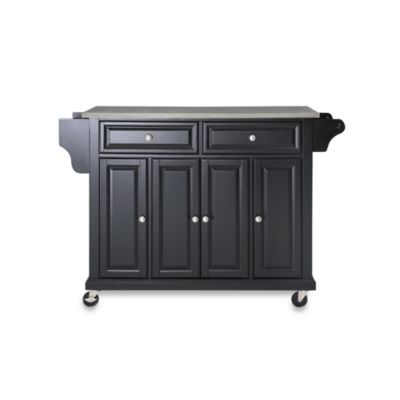 Crosley Rolling Kitchen Cart/Island with Stainless Steel Top in Black