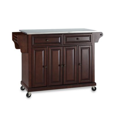 Crosley Rolling Kitchen Cart/Island with Stainless Steel Top in Mahogany