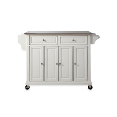Crosley Rolling Kitchen Cart/Island with Stainless Steel Top in White