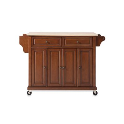 Crosley Natural Wood Top Rolling Kitchen Cart/Island in Cherry