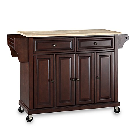 Crosley Natural Wood Top Rolling Kitchen Cart/Island in Mahogany