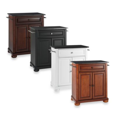 Alexandria Black Granite Top Portable Kitchen Island