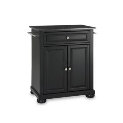 Black Granite Top Portable Kitchen Island
