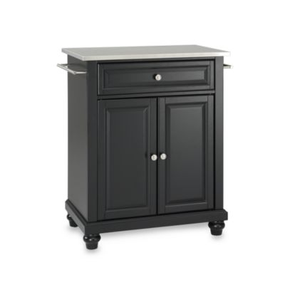 Crosley Cambridge Stainless Steel Top Portable Kitchen Island in Black