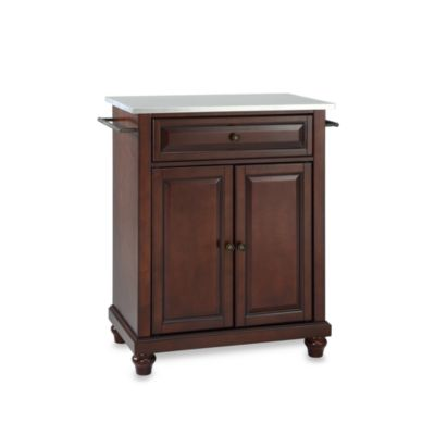 Crosley Cambridge Stainless Steel Top Portable Kitchen Island in Mahogany