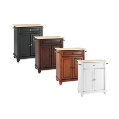 Crosley Cambridge Natural Wood Top Portable Kitchen Island