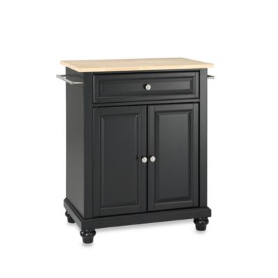 Crosley Cambridge Natural Wood Top Portable Kitchen Island in Black