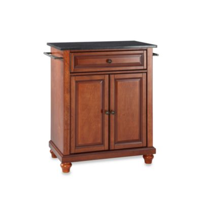 Crosley Cambridge Black Granite Top Portable Kitchen Island in Cherry
