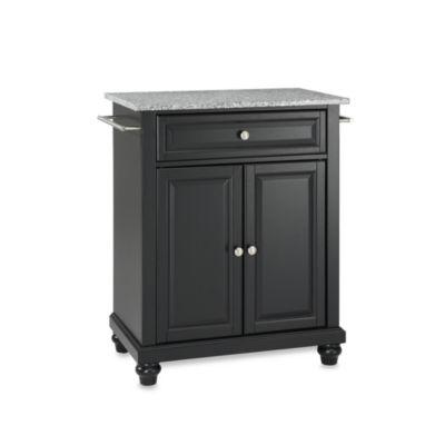 Crosley Cambridge Granite Top Portable Kitchen Island in Black