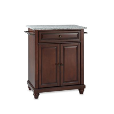 Crosley Cambridge Granite Top Portable Kitchen Island in Cherry