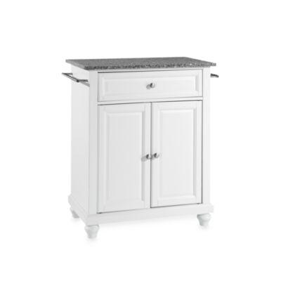 Crosley Cambridge Granite Top Portable Kitchen Island in White