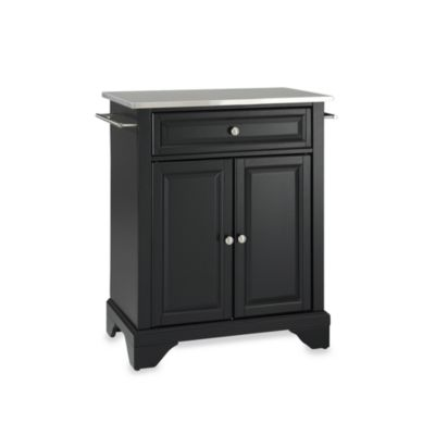 Crosley LaFayette Stainless Steel Top Portable Kitchen Island in Black