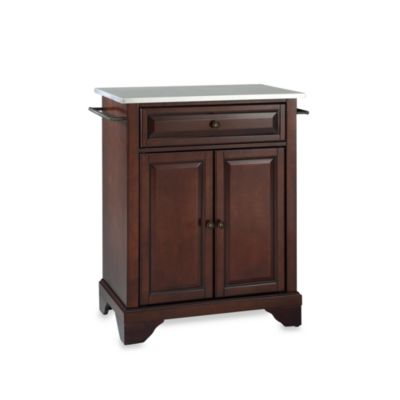 Crosley LaFayette Stainless Steel Top Portable Kitchen Island in Mahogany