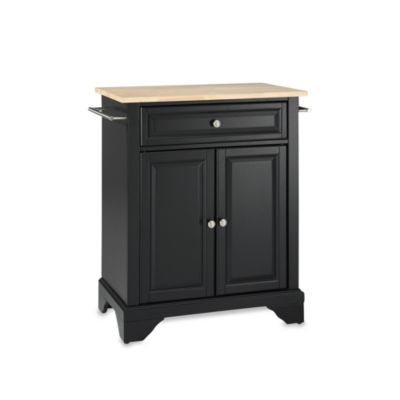 Crosley LaFayette Wood Top Portable Kitchen Island in Black