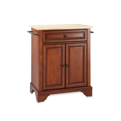 Crosley LaFayette Wood Top Portable Kitchen Island in Cherry