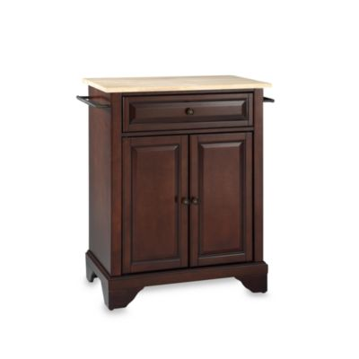 Crosley LaFayette Wood Top Portable Kitchen Island in Mahogany