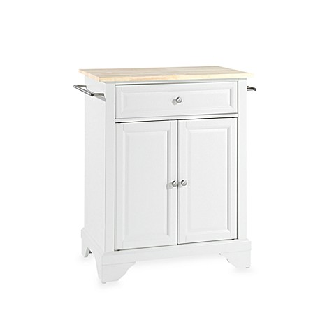 Crosley LaFayette Wood Top Portable Kitchen Island in White