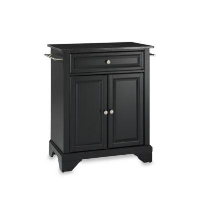 Crosley LaFayette Black Granite Top Portable Kitchen Island in Black