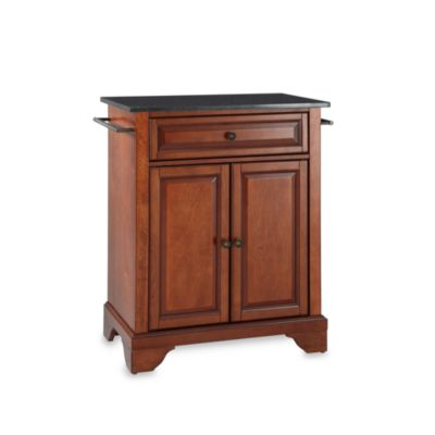Crosley LaFayette Black Granite Top Portable Kitchen Island in Cherry