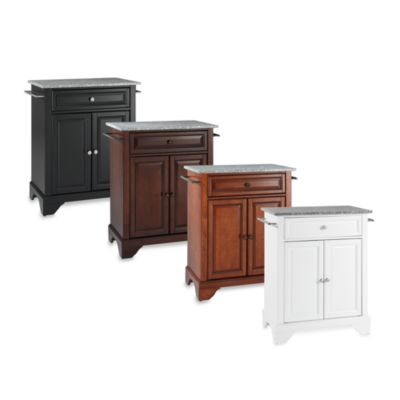LaFayette Solid Granite Top Portable Kitchen Island