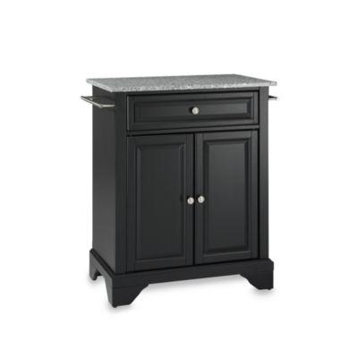 Crosley LaFayette Solid Granite Top Portable Kitchen Island in Black