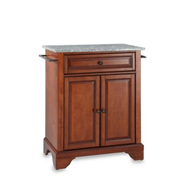 Crosley LaFayette Solid Granite Top Portable Kitchen Island in Mahogany