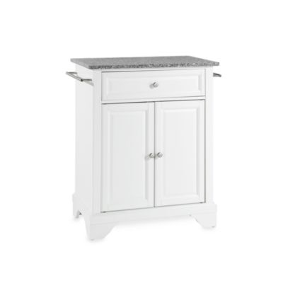 Crosley LaFayette Solid Granite Top Portable Kitchen Island in White