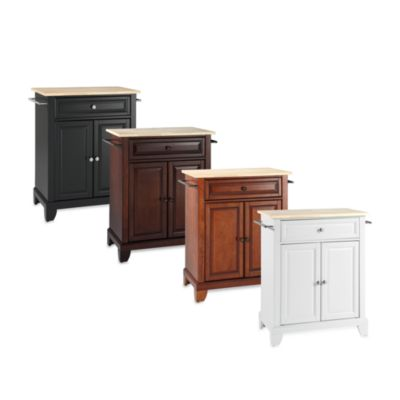 Newport Natural Wood Top Portable Kitchen Island