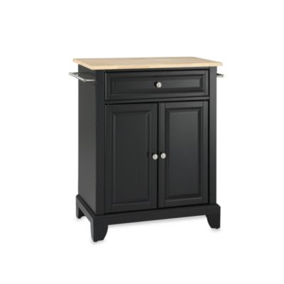 Crosley Newport Natural Wood Top Portable Kitchen Island in Black