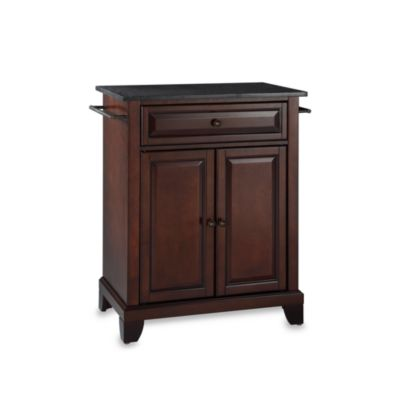 Crosley Newport Black Granite Top Portable Kitchen Island in Black