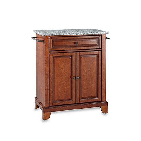 Crosley Newport Granite Top Portable Kitchen Island in Cherry