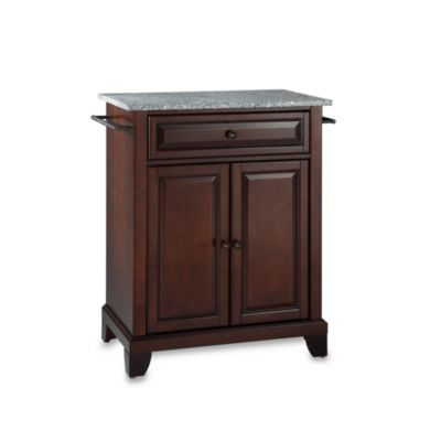 Crosley Newport Granite Top Portable Kitchen Island in Black
