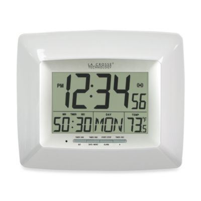Digital Timer Clock with Indoor Temperature in White
