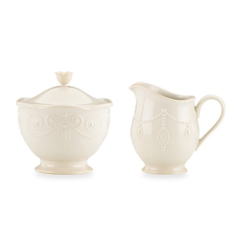 Lenox® French Perle Sugar Bowl and Creamer in White