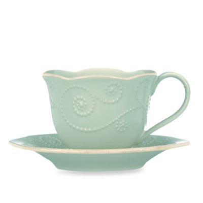 Lenox® French Perle 8-Ounce Cup and 6-Inch Saucer in Ice Blue