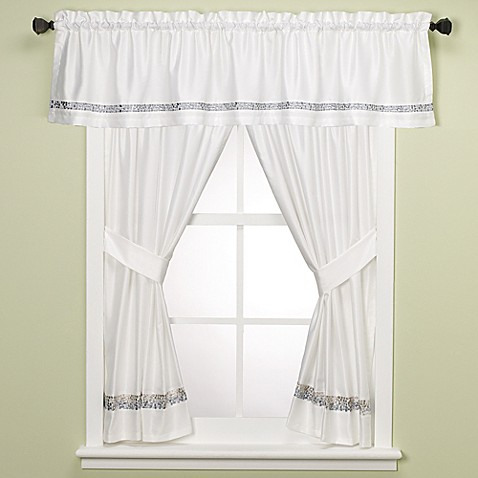 Croscill spa tile bathroom 45 inch window curtain panel for Bathroom window curtains