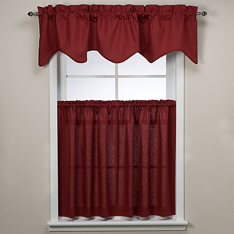 Logan Window Curtain Tiers, 100% Cotton - Red