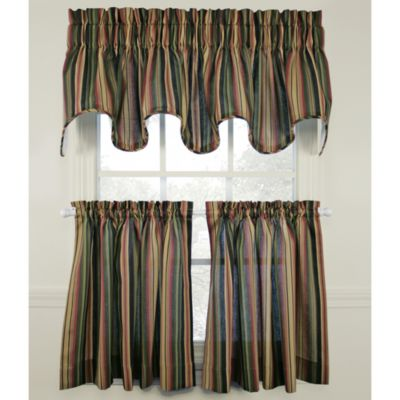 Montego Stripe 24-Inch Window Curtain Tier (Set of 2)
