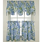 Hydrangea Blue Window Curtain Tiers, 100% Cotton