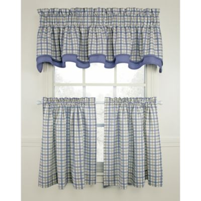 Bristol Plaid 45-Inch Window Curtain Tier Pair in Blue