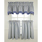 Bristol Plaid Window Curtain Tiers - Blue, 100% Cotton