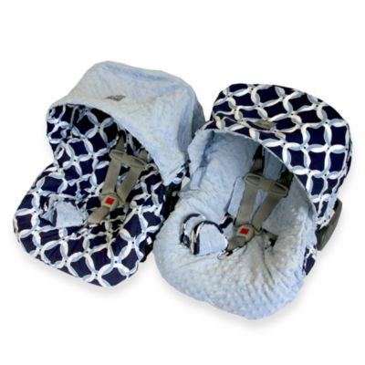 Baby Ritzy Rider™ Infant Car Seat Cover in Social Circle Blue & Blue Minky Dot