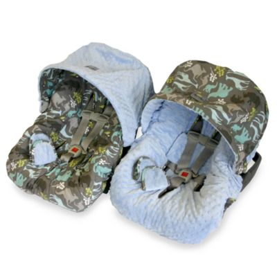 Seat Protectors > Baby Ritzy Rider™ Infant Car Seat Cover in Urban Jungle Blue & Blue Minky Dot