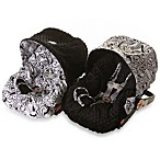 Baby Ritzy Rider™ Infant Car Seat Cover in Licorice Swirl & Black Minky Dot