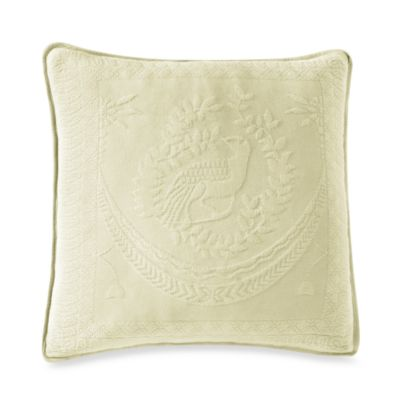 King Charles Matelasse 20-Inch Square Ivory Pillow