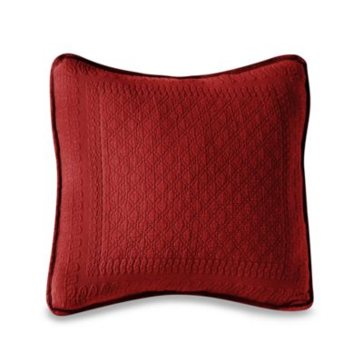 "King Charles Matelasse 18"" Square Scarlet Pillow"