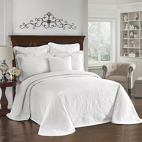 King Charles Matelasse King Sham in White