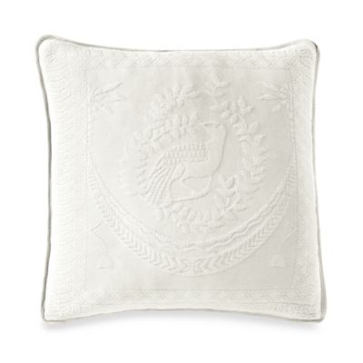 "King Charles Matelasse 20"" Square White Pillow"
