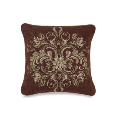 Windsor Chocolate/Green 14-Inch Square Needlepoint Toss Pillow