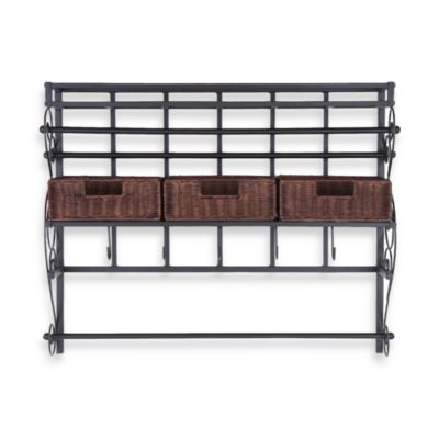 Southern Enterprises Wall Mount Craft Large Storage Rack with Baskets